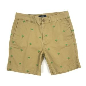 J Crew Chino Shorts Embroidered Palm Trees